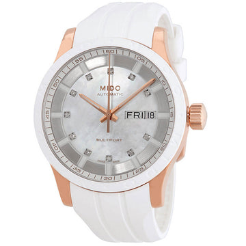 Mido Women's Diamond Watch - Multifort II MOP Dial White Strap | M0188303711680