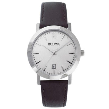 Bulova 96B217 Men's Silver Dial Black Leather Strap Date Watch