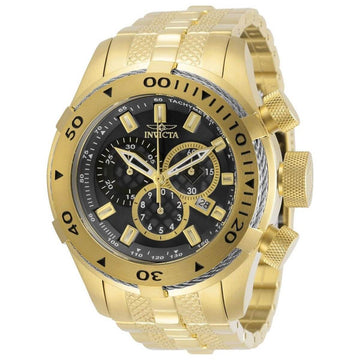 Invicta Men's Chronograph Watch - Bolt Black Dial Yellow Gold Bracelet | 29744