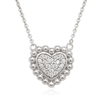 Sterling Silver Small CZ Heart with Beaded Border Necklace