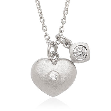 Sterling Silver Small CZ with Heart Double Pendant Children's Necklace