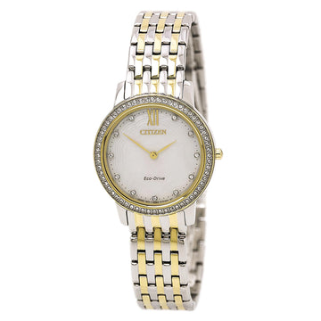 Citizen Women's Silhouette Crystal Watch - Eco Drive Two Tone Steel MOP Dial