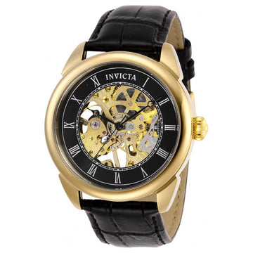 Invicta Men's Mechanical Watch - Specialty Skeleton Dial Black Leather Strap | 28811