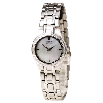 Citizen Women's Diamond Watch - Stiletto Eco Drive Steel Bracelet MOP Dial