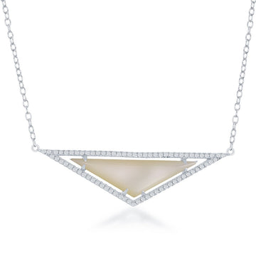 Sterling Silver Triangle White MOP CZ Necklace