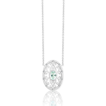 Sterling Silver Green Quartz Oval Diamond Necklace