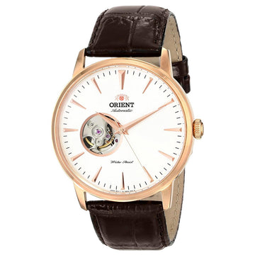 Orient DB08001W Men's Classic Esteem White Dial Brown Leather Strap Power Reserve Automatic Watch