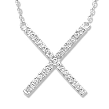 Sterling Silver CZ X Design Necklace