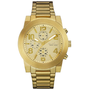 Caravelle 44A105 Men's New York Gold Tone Dial Yellow Gold Steel Chronograph Watch