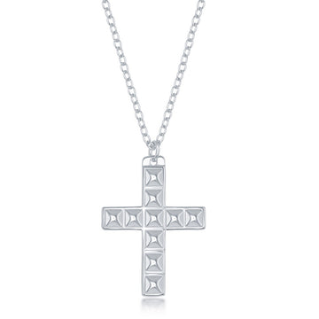 Sterling Silver Studded Cross Design Necklace