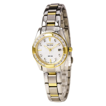 Citizen EW1824-57D Women's Diamond Eco Drive Regent Two Tone Steel Mother of Pearl Dial Date Watch
