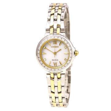 Citizen Damen Diamantuhr - Eco Drive Two Tone Steel White Dial | EM0444-56A