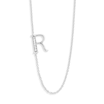 "Sterling Silver Off-Center CZ ""R"" Necklace"