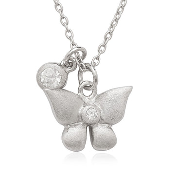 Sterling Silver Small CZ with Butterfly Children's Necklace