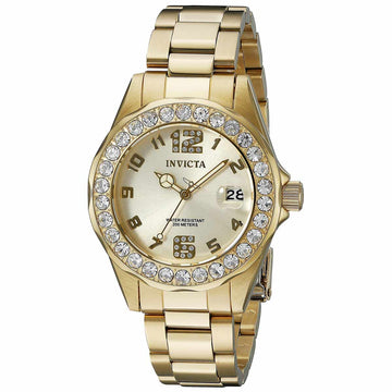 Invicta 21397 Women's Pro Diver Crystal Accented Bezel Gold Dial Yellow