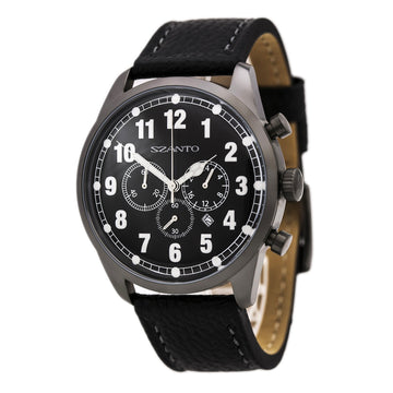 Szanto 2001 Men's 2000 Series Chronograph Gunmetal IP Steel Black Leather