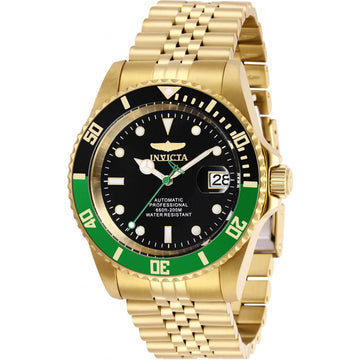 Invicta Men's Automatic Watch - Pro Diver Black Dial Yellow Gold Bracelet | 29184