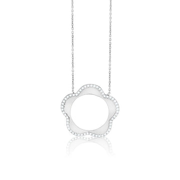 Sterling Silver Open Flower with CZ Border Necklace