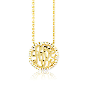 Sterling Silver Gold LOVE Monogram CZ Necklace