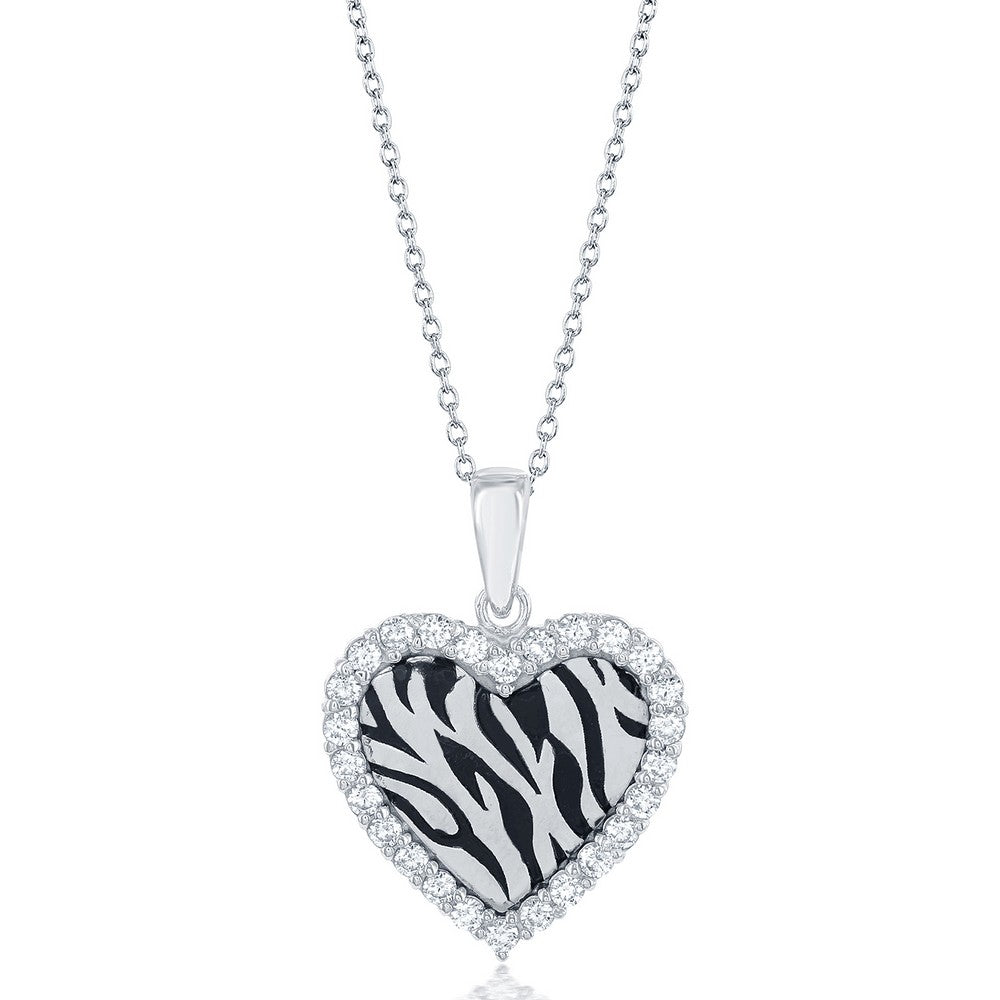 Sterling Silver CZ Border Heart with Zebra Design Necklace