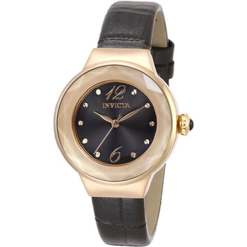 Invicta Women's Quartz Watch - Angel Rose Gold Case Black Dial Leather Strap | 29784
