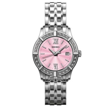 Seiko SXDE47 Women's Dress Pink Dial Stainless Steel Quartz Crystal Watch
