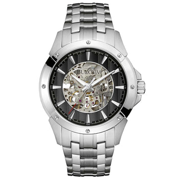 Bulova 96A170 Men's Black & Silver Skeleton Dial Steel Bracelet Automatic Watch