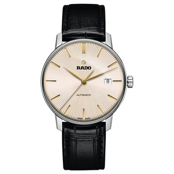 Rado Men's Quartz Watch - Coupole Classic Automatic Beige Dial Black Leather Strap | R22860105