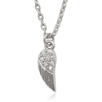 Sterling Silver Tiny CZ Feather Pendant Necklace