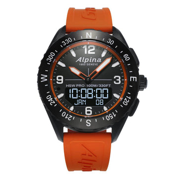 Alpina Men's Strap Smartwatch - AlpinerX HSW Compass Orange Rubber | AL-283LBO5AQ6