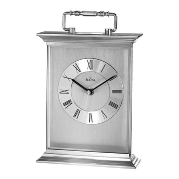 Bulova Tabletop Carriage Clock - Newport Brushed & Polished Finish Aluminum Case | B7472