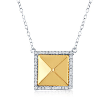 Sterling Silver Gold Pyramid Style Square Necklace