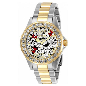 Invicta 24418 Women's Two Tone Yellow Steel Disney Crystal White-Black Dial Date Watch