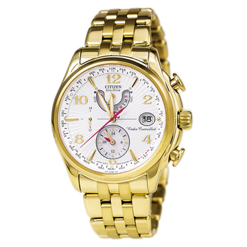Citizen Women's World Time A-T Watch - Eco Drive Yellow Steel Bracelet White Dial