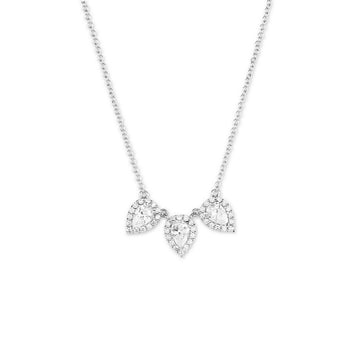 Sterling Silver Triple Teardrop CZ Necklace