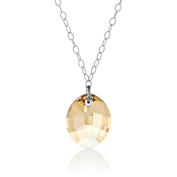Sterling Silver Faceted Marquise Swarovski Necklace
