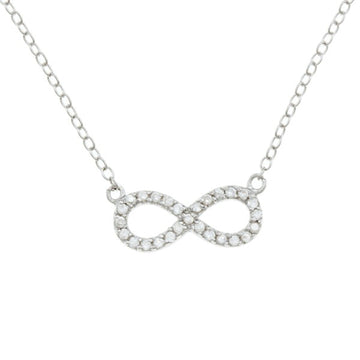 Sterling Silver CZ Reversible Infinity Necklace