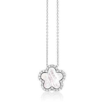 Sterling Silver MOP Flower with CZ Outline Necklace