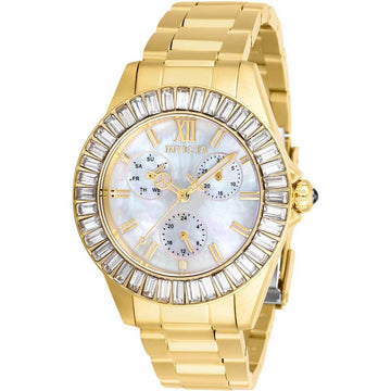 Invicta Women's Quartz Watch - Angel White MOP Dial Yellow Gold Bracelet | 28452