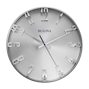 Bulova C4846 Director Silver Dial Satin Pewter Finish Quartz Wall Clock