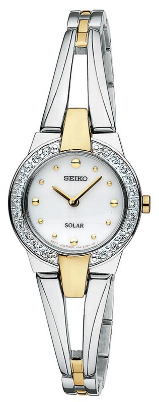 Seiko SUP052 Women's Two Tone Solar Powered White Dial Watch