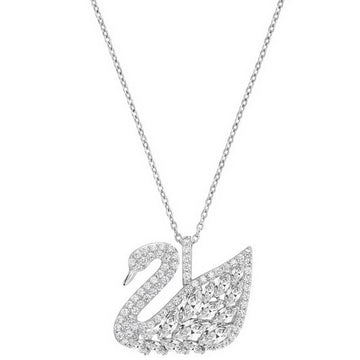 Swarovski Women's Pendant - Swan Lake Design Rhodium Plated Crystal Pave | 5169080