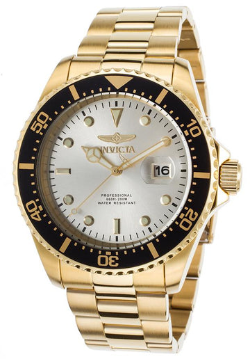 Invicta 22064 Men's Pro Diver Silver Dial Yellow Gold Plated Steel Bracelet Quartz Dive Watch