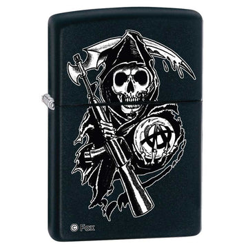 Zippo 28504 Classic Black Matte The Reaper Windproof Pocket Lighter
