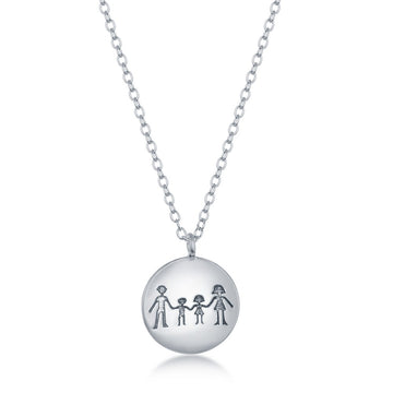 Sterling Silver Family Stamping Disc Necklace