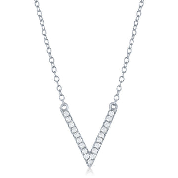Sterling Silver CZ V Pendant Necklace