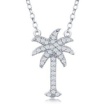 Sterling Silver CZ Palm Tree Necklace