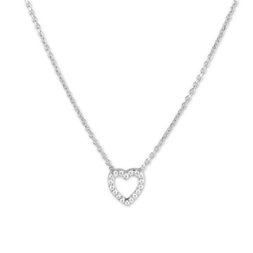 Sterling Silver Tiny Open CZ Heart Necklace