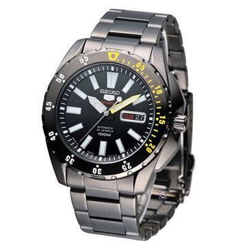 Seiko SRP363 Men's 5 Sports Black Dial Black IP Steel Bracelet Automatic Watch