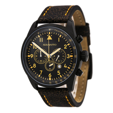 Szanto 2252 Men's 2200/2250 Series Black Dial Black Steel Chrono Black